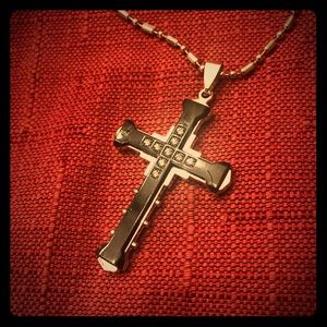 Silver and Black Cross with Diamond-like Crystals